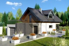 The project storey house with an attic and a garage single user. Made in the traditional brick technology, with weather-boarding,. 100 M2, Bungalow, Building A House, House Plans, Brick, Home And Family, Construction, Outdoor Structures, Patio