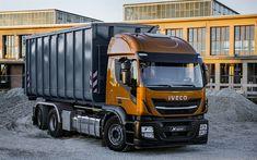 Download wallpapers Iveco Stralis X-Way, new trucks, dump truck, 6x4, crushed stone transportation, orange-black Stralis, Super Loader, Iveco