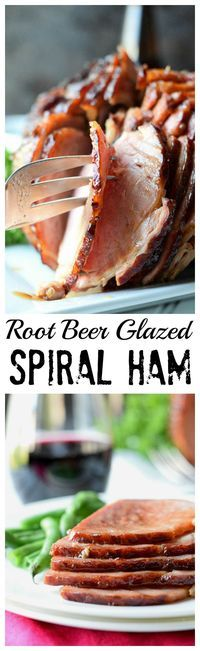 This Root Beer Glazed Spiral Ham has a tangy, sweet, and sticky glaze that caramelizes to perfection while baking in the oven.