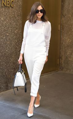 Overall Moment from Olivia Culpo's Street Style  One word: Obsessed! This all-white ensemble, consisting of Elizabeth and James overalls, isthe perfect look to ring inthe end of summer.