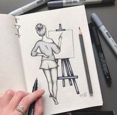 Easy Pencil Drawings, Easy People Drawings, Easy Doodles Drawings, Pencil Sketch Drawing, Girl Drawing Sketches, Girly Drawings, Art Drawings Sketches Simple, Realistic Drawings, Drawing People