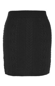 Mini-jupe en maille torsadée noire