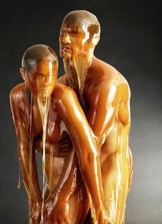 Preservation - photographer and artist Blake Little covering models with honey and capturing them into dripping portraits, frozen in this golden sugar as in amber.