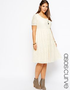 Image 1 ofASOS CURVE Exclusive Midi Dress In Lace With Short Sleeves