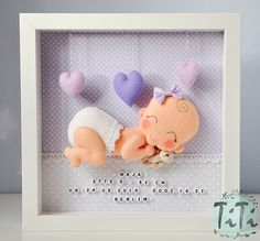 Baby Decorative Frame New baby Personalised Felt box by TiTics