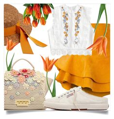 """tulips seeing"" by femitafirman ❤ liked on Polyvore featuring Federica Moretti, Siobhan Molloy, ZAC Zac Posen, orangeoutfit and popsoforange"