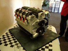 My Cake! Put chocolate in the engine block for it to be the oil! Twizzlers for the spark plug wires. Oh so amazing!