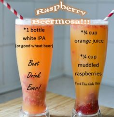 BEST SUMMER ALCOHOLIC DRINK EVER! THE RASPBERRY BEERMOSA!!! I need this RIGHT NOW!!!