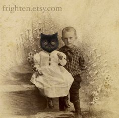 Persian Cat Art, Mixed Media Collage Print, My Sister Was a Cat, 8x10 Altered Antique Portrait of Brother and Sister. 22.00, via Etsy.