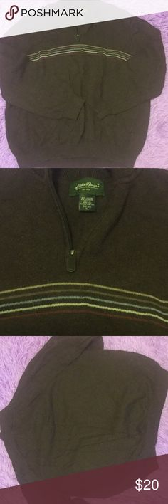 Men's brown sweater Men's XL Eddie Bauer pull on sweater with zip neck. My husband wore very minimally so in brand new condition. It is a super soft sweater. Eddie Bauer Sweaters Cardigan
