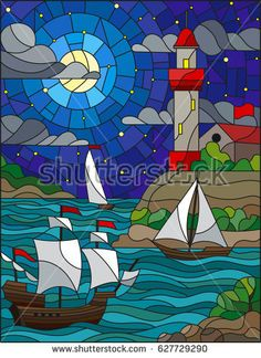 Illustration in stained glass style with sea view, three ships and a shore with … - Cool Glass Art Designs Disney Stained Glass, Stained Glass Paint, Stained Glass Designs, Stained Glass Projects, Stained Glass Patterns, Glass Painting Designs, Glass Art Design, Mosaic Art, Mosaic Glass