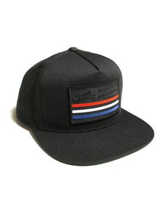 united moto red white and blue striped motorcycle patch baseball hat