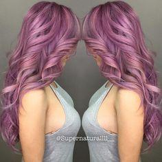 Stunning lilac hair color and cascading mermaid waves. hotonbeauty.com