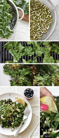Grilled Kale salad with blueberries. Antioxidant and fiber rich. Incredibly healthy.~AriesA