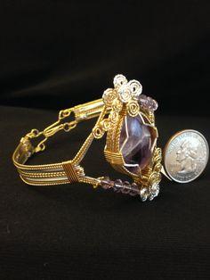 Bracelet  Amethyst wire wrapped silver and by DeereRidgeArtStudio
