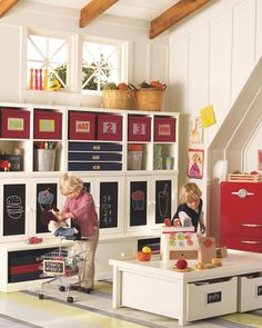 Choosing Furniture for a Play Space | Pottery Barn Kids - love the storage!