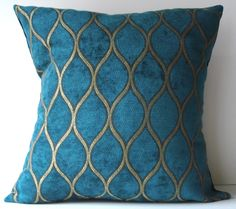 New 18x18 inch Designer Handmade Pillow Case. peacock blue and gold textured fabric. $25.00, via Etsy.