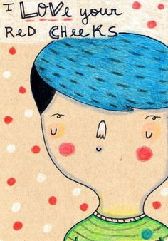 I love your red cheeks hand drawn postcard make with ink and wax crayons Original Drawing on heavyweight recycled ecofriendly kraft paper. Red Cheeks, Wax Crayons, Romanticism, Make Me Smile, Illustration Art, Illustrations, How To Draw Hands, Kids Rugs, The Originals