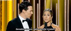 Benedict Cumberbatch couldn't believe his luck. | The 22 Most Important Things That Happened At The Golden Globes
