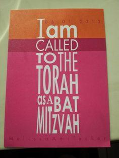 Colorful Bat Mitzvah invitation.