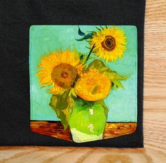 Sunflowers Pocket Shirt Vincent Van Gogh by GrayClothing on Etsy