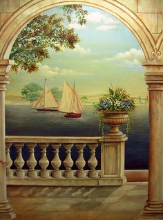 Venice at Twilight Trompe L'oeil Wallpaper Designs For Walls, Wall Wallpaper, Wall Painting Decor, Mural Painting, Wall Murals, Wall Art, Fantasy Landscape, Pictures To Paint, Paint Designs