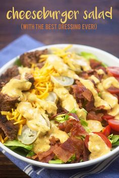 Cheeseburger Salad - you won't miss the bun in this low carb salad recipe. That burger dressing is TO DIE FOR!! #lowcarb #keto #salad #recipe