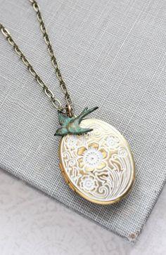 White Patina Locket Necklace Bird Charm Photo Locket Shabby Country Chic Romantic Bridesmaids Gift for Mom Keepsake Jewelry Nickel Free