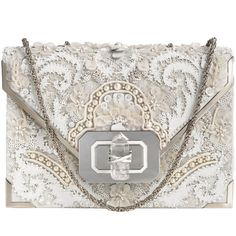 Marchesa Pearl Valentina Shoulder Bag ($3,695) ❤ liked on Polyvore featuring bags, handbags, shoulder bags, purses, clutches, bolsas, glitter purse, chain handbags, floral purse and shoulder bag purse