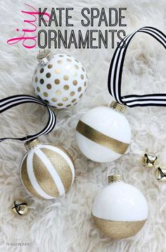 DIY Kate Spade Ornaments | 27 Spectacularly Easy DIY Christmas Tree Ornaments, see more at http://diyready.com/spectacularly-easy-diy-ornaments-for-your-christmas-tree