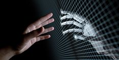 Hands of Robot and Human Touching Through Virtual Grid on Black Background. Virtual Reality or Artificial Intelligence Concept Illustration - Buy this stock illustration and explore similar illustrations at Adobe Stock Technology World, Futuristic Technology, Computer Technology, Technology Gadgets, Energy Technology, Tech Gadgets, Simulation Hypothesis, Artificial Intelligence Technology, Wattpad