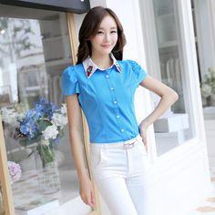 S~XXL Women's Tops 2014 Slim Was Thin Puff Short-Sleeved Chiffon Blouse Five Colors Women Blouses Plus Size Women Shirt $14.46