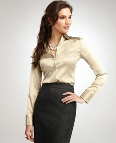 Satin blouse with pencil skirt                                                                                                                                                                                 More