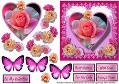 Very pretty valentines 3D card that can be used for other reasons.  has 5 labels.  Be My Valentine.  With Love.  For You Only.  Always yours.  and Best wishes.  The butterflies are an optional extra.