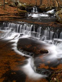 Collins Creek . Just another typical view of the waterfalls along Collins Creek. This great place is located in the JFK Park at Greers Ferry Lake, near Heber Springs, Arkansas, USA