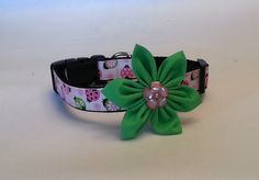Large embellished dog collar  pink and lime by WindOnThePrairie, $21.00