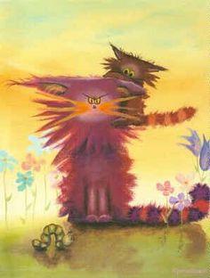 Cat Alley - Cynthia schmidt scaredy cat art fuzxy kitten