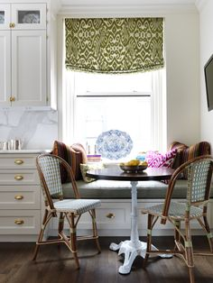 breakfast nook | brass | greige | bistro chairs | ikat