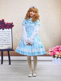 Steampunk - Blue Cross-Strap Lace Cotton Sweet Lolita Dress