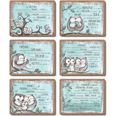 Mint Owl - Set of 6 Placemats and Coasters by Lisa Pollock