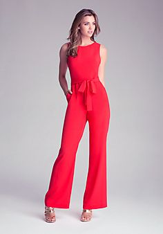 Change up your evening style with this elegant bebe jumpsuit, featuring a polished wide leg cut, sexy back cutouts and waist-cinching self-tie. Try yours with a pair of strappy sandals and statement necklace to complete a chic after-hours look. Reunion Outfit, Business Chic, Red Jumpsuit, Fashion For Women Over 40, Rompers Women, Dress To Impress, Fashion Dresses, Women's Fashion, Stylish
