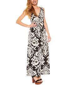 Another great find on #zulily! Black Damask Surplice Maxi Dress - Plus #zulilyfinds