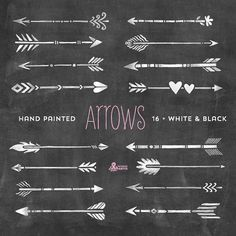 White & Black Arrows Clipart. Tribal, native diy elements, invitation, greetings, chalkboard, transparent, grey, hires, boho style, png