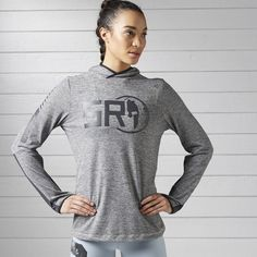 Reebok Spartan Long Sleeve Hooded Tee ($35) ❤ liked on Polyvore featuring activewear, activewear tops, apparel, medium grey heather, hooded pullover, sweater pullover, reebok, reebok activewear and reebok sportswear