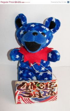 ON SALE 15% OFF Rescued Grateful Dead Bean Bear By Liquid Blue Collectible Uncle Sam Five Seasons Center 4th Of July Bear