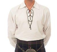 """/""""SALE OFFER/"""" XL BLACK DELUXE SCOTTISH JACOBEAN LACED GHILLIE SHIRT 4 KILT SALE"""