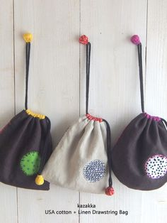 kazakka - very sweet design Embroidery Bags, Japanese Embroidery, Sewing Tutorials, Sewing Crafts, Sewing Projects, Sacs Tote Bags, Linen Bag, Patch Quilt, Fabric Bags