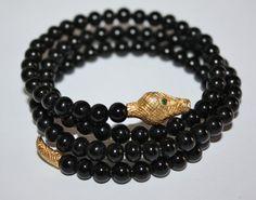 Vintage Bracelet Snake Black  Wire Wrap  1970s Jewelry by patwatty, $30.00