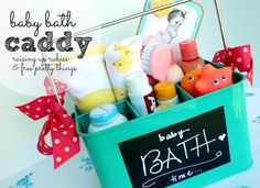 Boy version: Ryan got a tool box from someone and it had protective eyewear, earplugs, funny but useful items! Today it hold bath toys.  Raising up Rubies: baby gift idea ♥ bath time caddy.