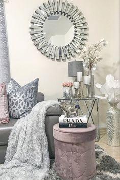 Silver Living Room, Classy Living Room, Living Room Decor Cozy, Luxury Living, Modern Living, Glamour Decor, Glam Room, Apt Ideas, Apartment Ideas